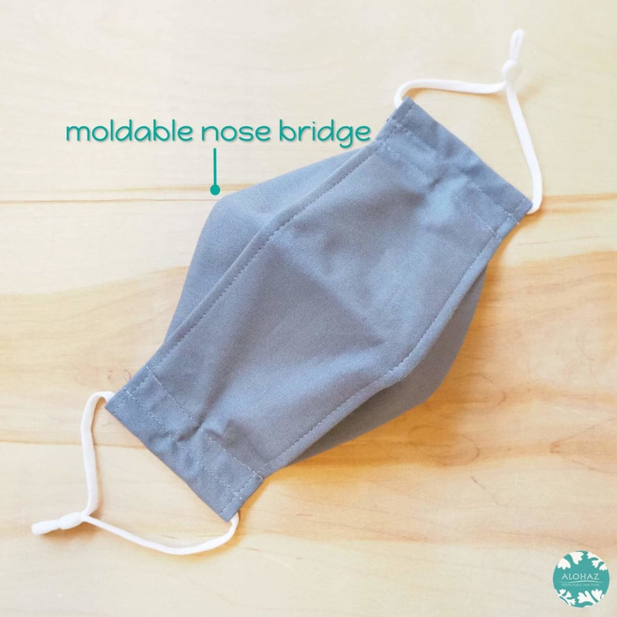 Antimicrobial 3D Face Mask + Adjustable Loops ~ Grey Solid | face mask