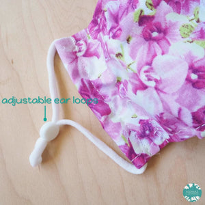 Antimicrobial 3D Face Mask + Adjustable Loops ~ Lilac Orchid Lover | face mask