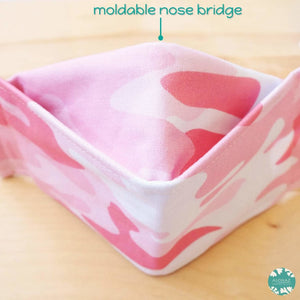 Antimicrobial 3D Face Mask + Adjustable Loops ~ Pink Camouflage | face mask