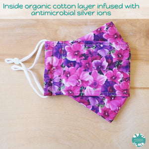 Antimicrobial 3D Face Mask + Adjustable Loops ~ Purple Orchid Lover | face mask
