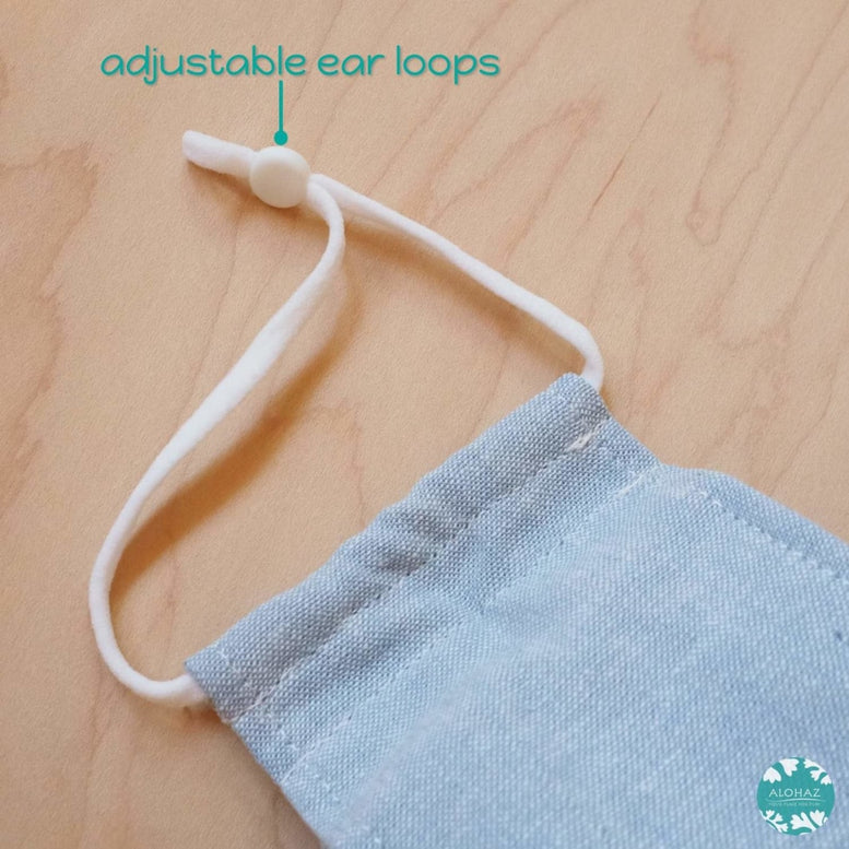 Antimicrobial 3D Face Mask + Adjustable Loops ~ Sunbleached Chambray | face mask