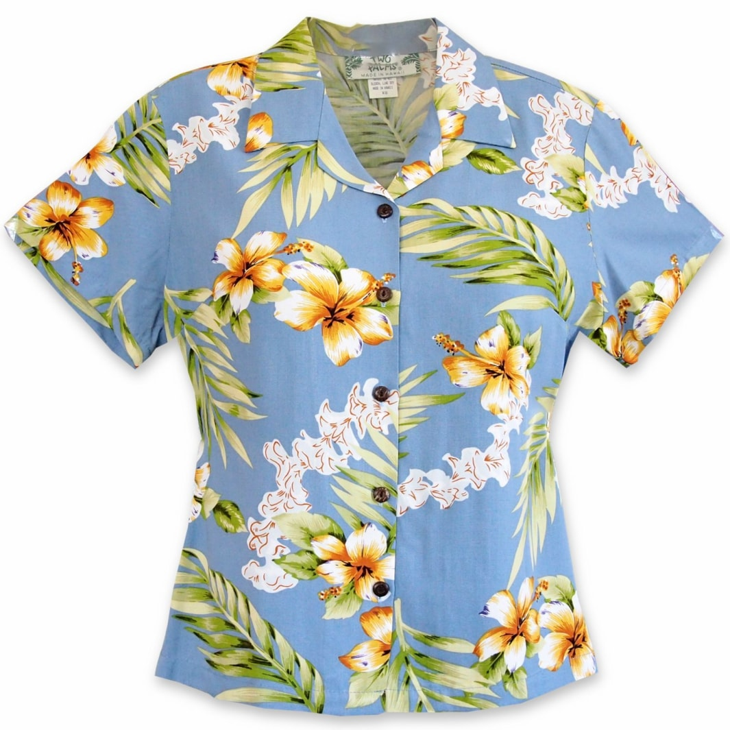 atoll blue hawaiian lady blouse | women blouse hawaiian