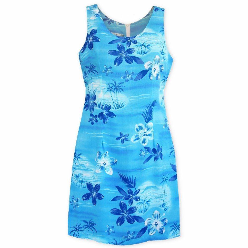 aurora blue hawaiian tank dress | short dress hawaiian