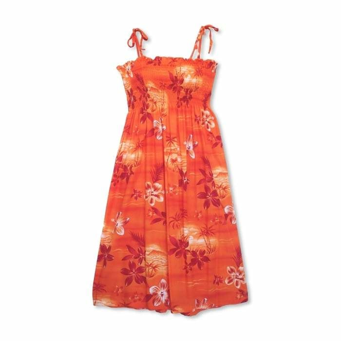 aurora orange hawaiian moonkiss short dress | short dress hawaiian