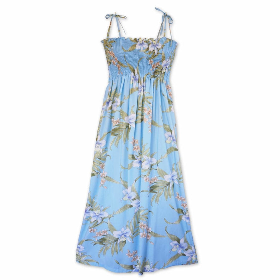 bamboo orchid baby blue hawaiian maxi dress | long dress hawaiian