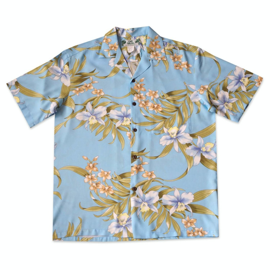 bamboo orchid baby blue hawaiian rayon shirt | hawaiian men shirt