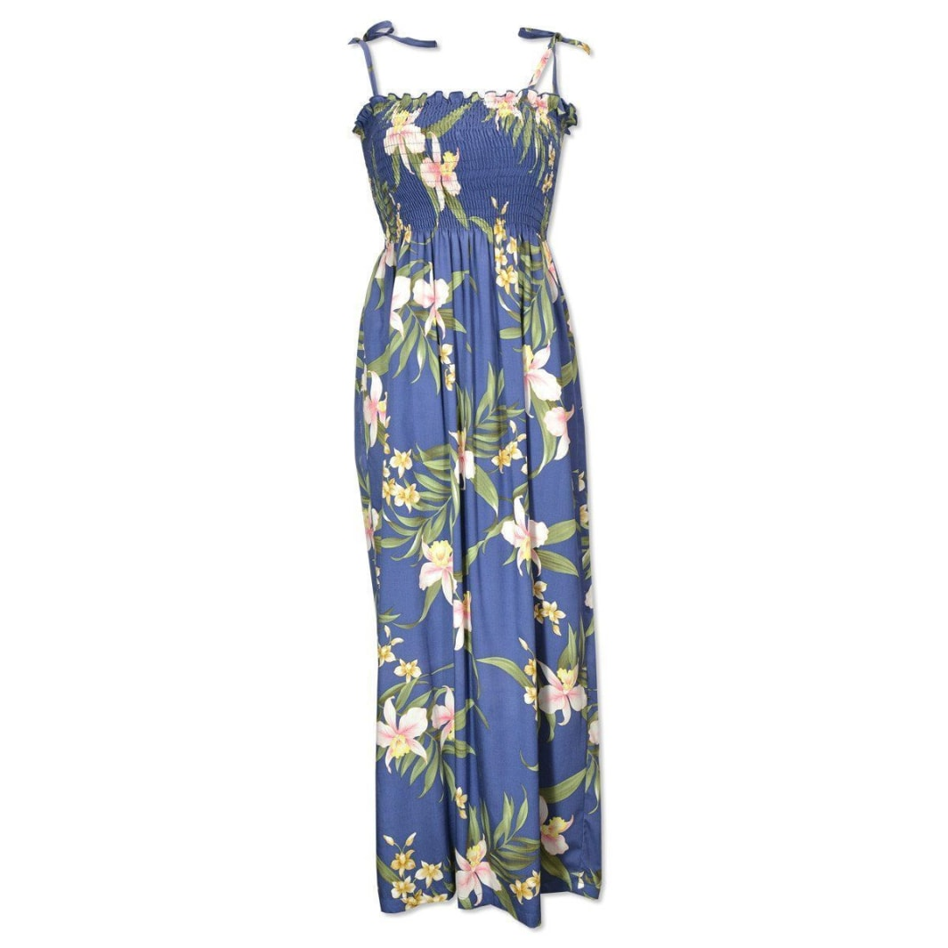 bamboo orchid blue hawaiian maxi dress | long dress hawaiian