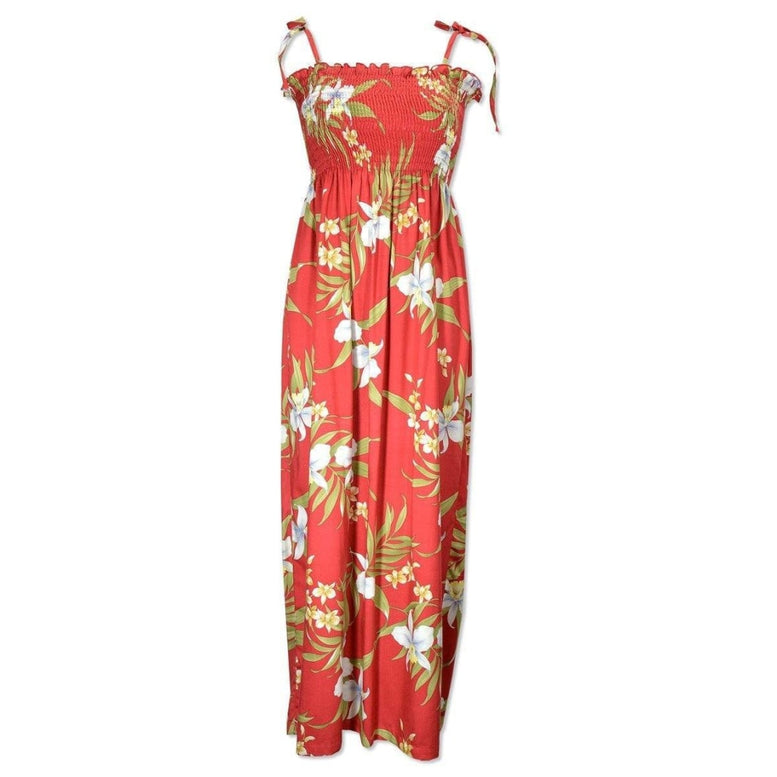 bamboo orchid red hawaiian maxi dress | long dress hawaiian