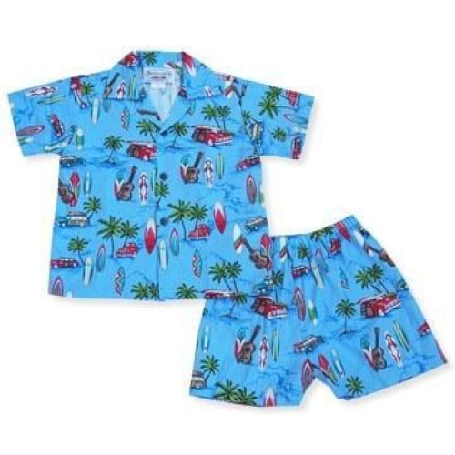 beach time blue hawaiian boy cabana set | hawaiian boy shirt cabana