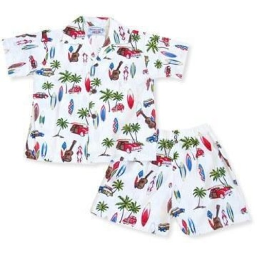 beach time white hawaiian boy cabana set | hawaiian boy shirt cabana