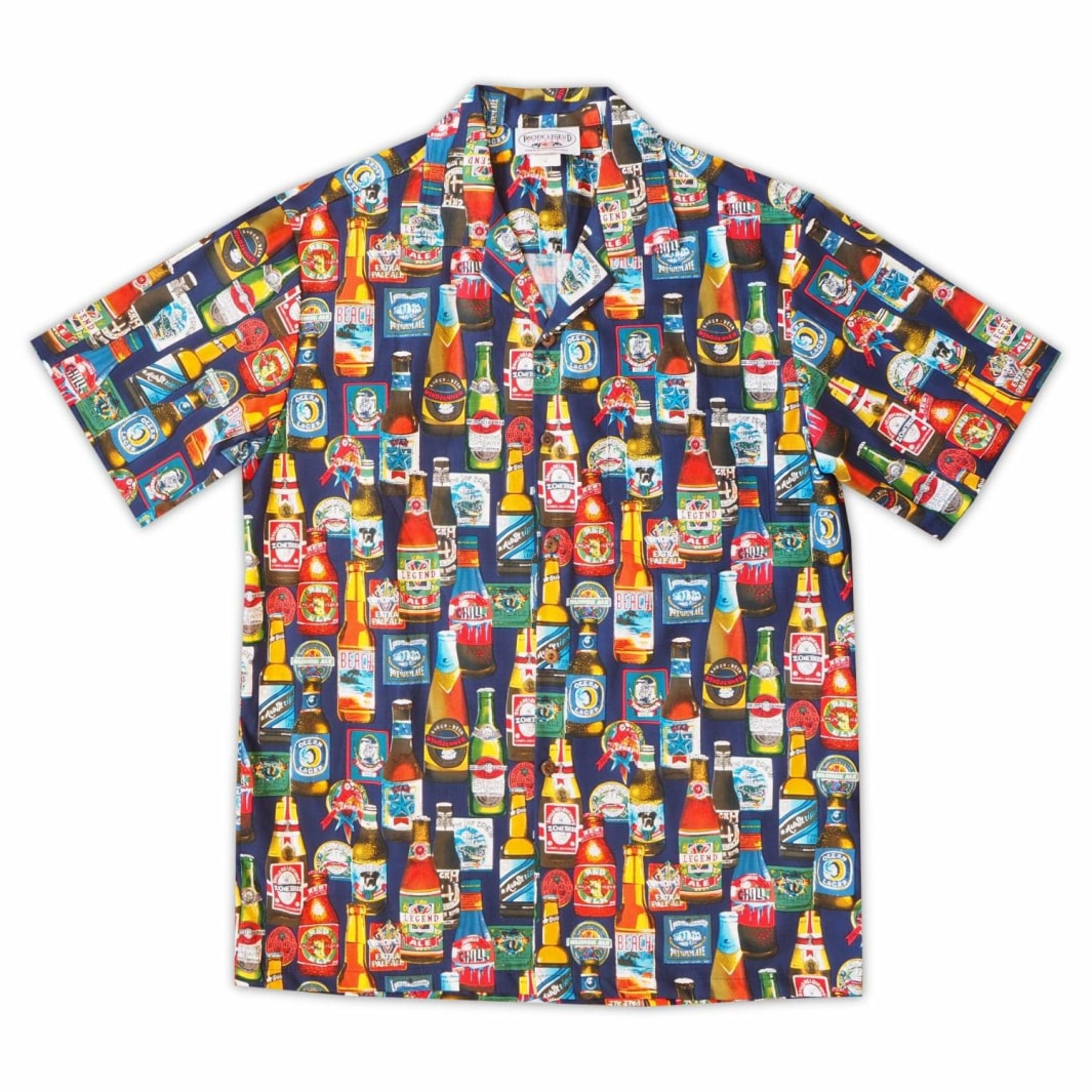 beer garden blue hawaiian cotton shirt | hawaiian shirt men