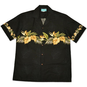 bird of paradise black hawaiian border shirt | hawaiian border shirt