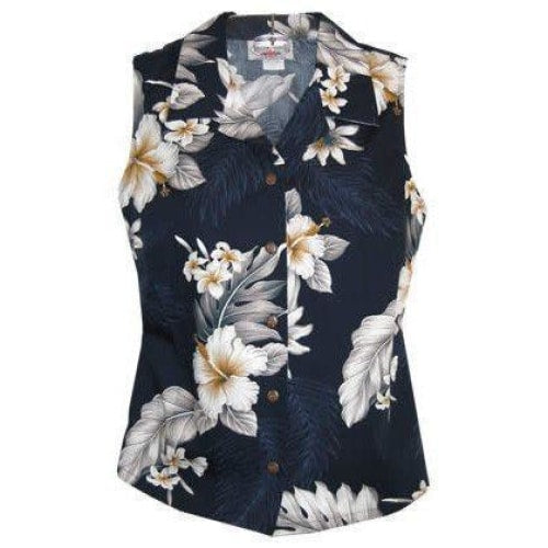 blueberry hawaiian sleeveless blouse | women blouse hawaiian