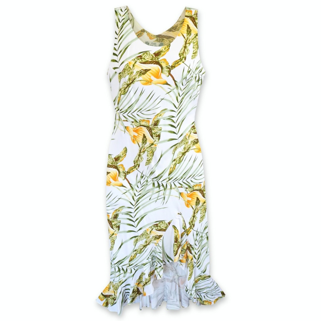 calla white hawaiian naniloa dress | hawaiian dress midi midlength