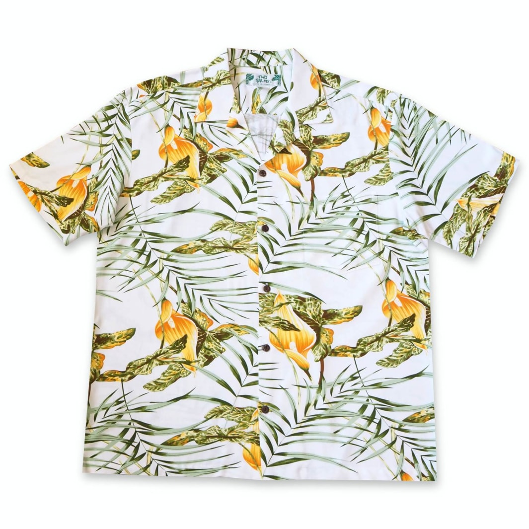 calla white hawaiian rayon shirt | hawaiian men shirt