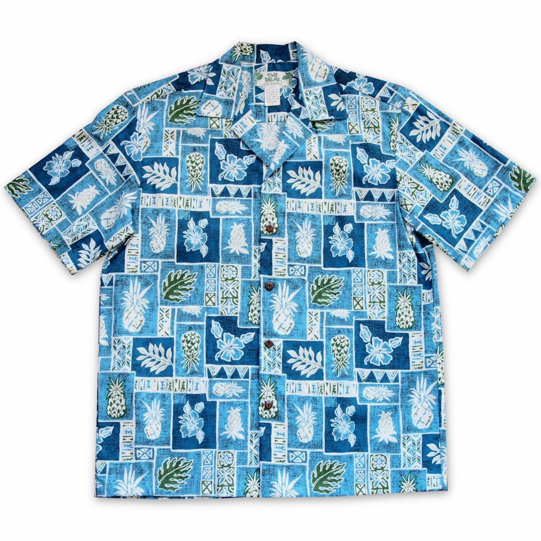 cast away blue hawaiian cotton shirt | hawaiian shirt men