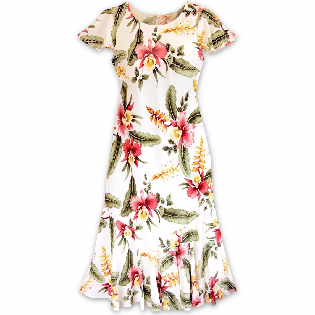 cloud cream hawaiian malia dress | hawaiian dress midi midlength