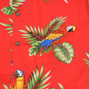 cockatoo red hawaiian cotton shirt | hawaiian shirt men