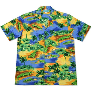 crocodile blue hawaiian cotton shirt | hawaiian shirt men