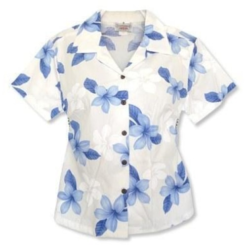 delight blue hawaiian lady blouse | women blouse hawaiian