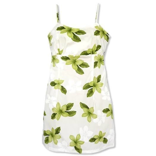 delight green hawaiian spaghetti dress | short dress hawaiian
