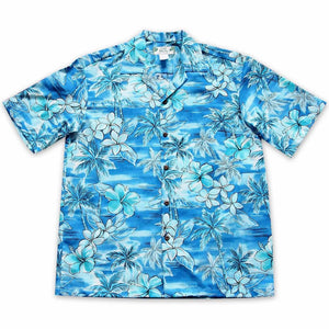 diamond head aqua hawaiian cotton shirt | hawaiian shirt men