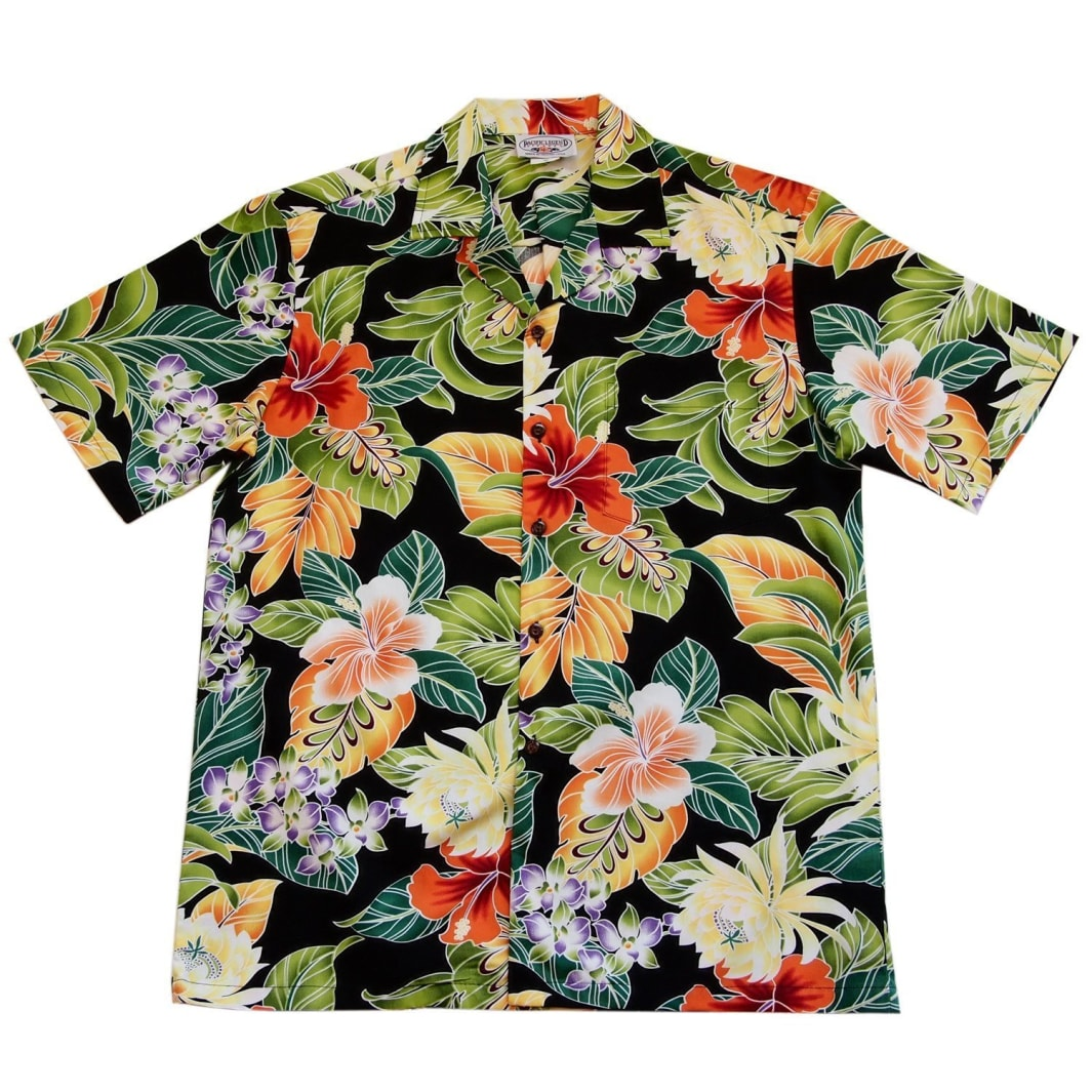 excite black hawaiian cotton shirt | hawaiian shirt men