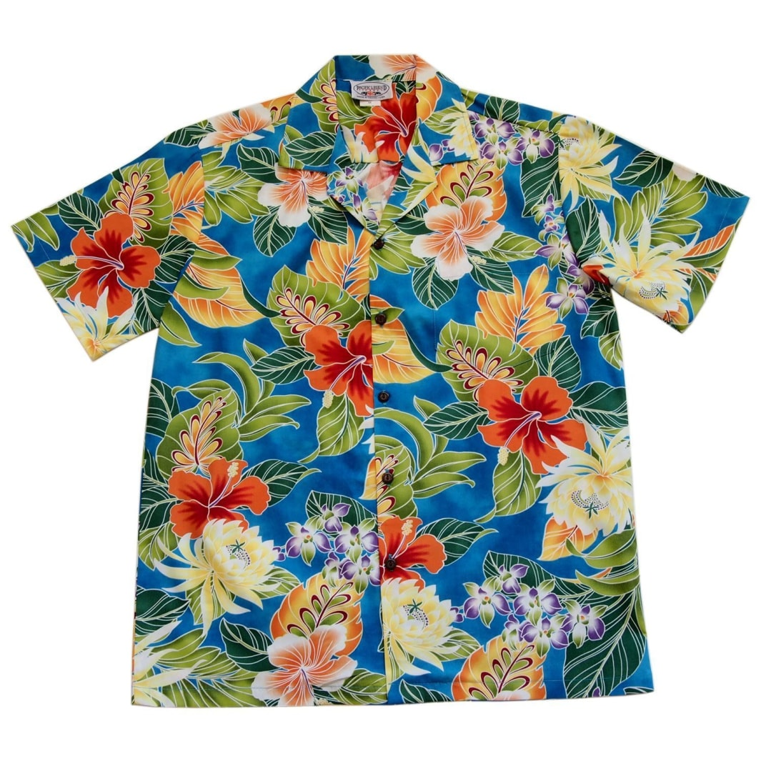 excite blue hawaiian cotton shirt | hawaiian shirt men