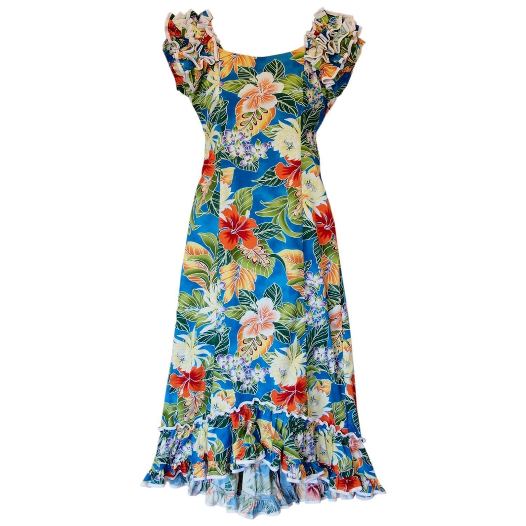 excite blue hawaiian meaaloha dress | long dress hawaiian