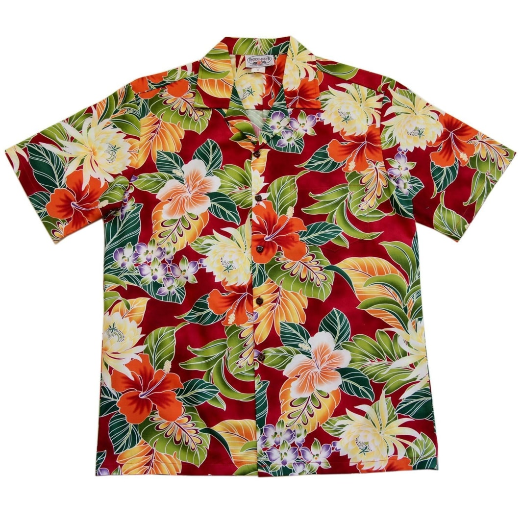 excite red hawaiian cotton shirt | hawaiian shirt men