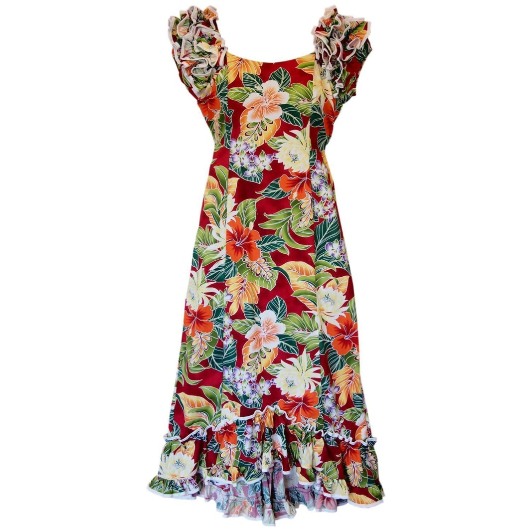 excite red hawaiian meaaloha dress | long dress hawaiian