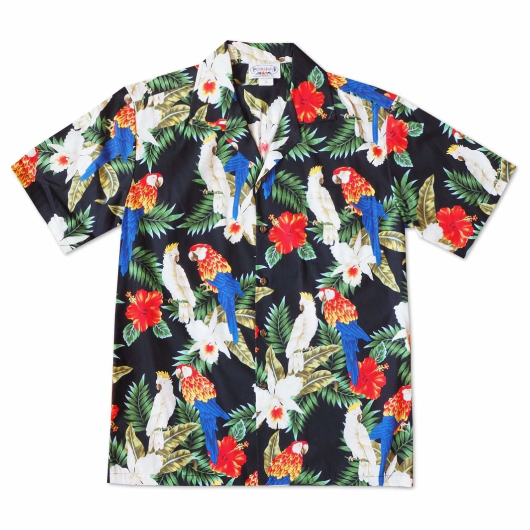 feather friends black hawaiian cotton shirt | hawaiian shirt men