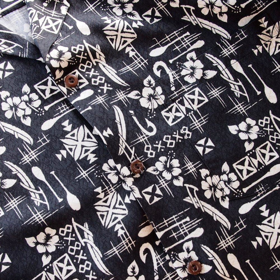 fish & paddle black hawaiian rayon shirt | hawaiian men shirt