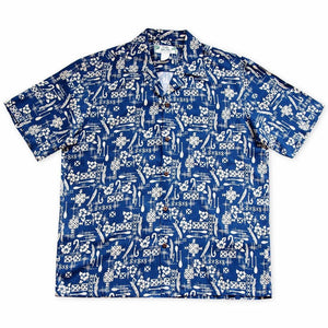 fish & paddle blue hawaiian rayon shirt | hawaiian men shirt