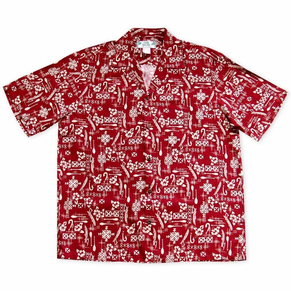 fish & paddle red hawaiian rayon shirt | hawaiian men shirt