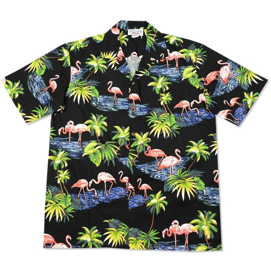 flamingo pool black hawaiian cotton shirt | hawaiian shirt men