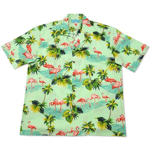flamingo pool green hawaiian cotton shirt | hawaiian shirt men
