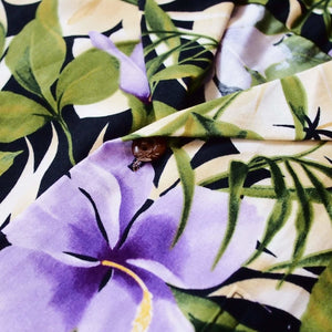 garden purple hawaiian cotton shirt | hawaiian shirt men