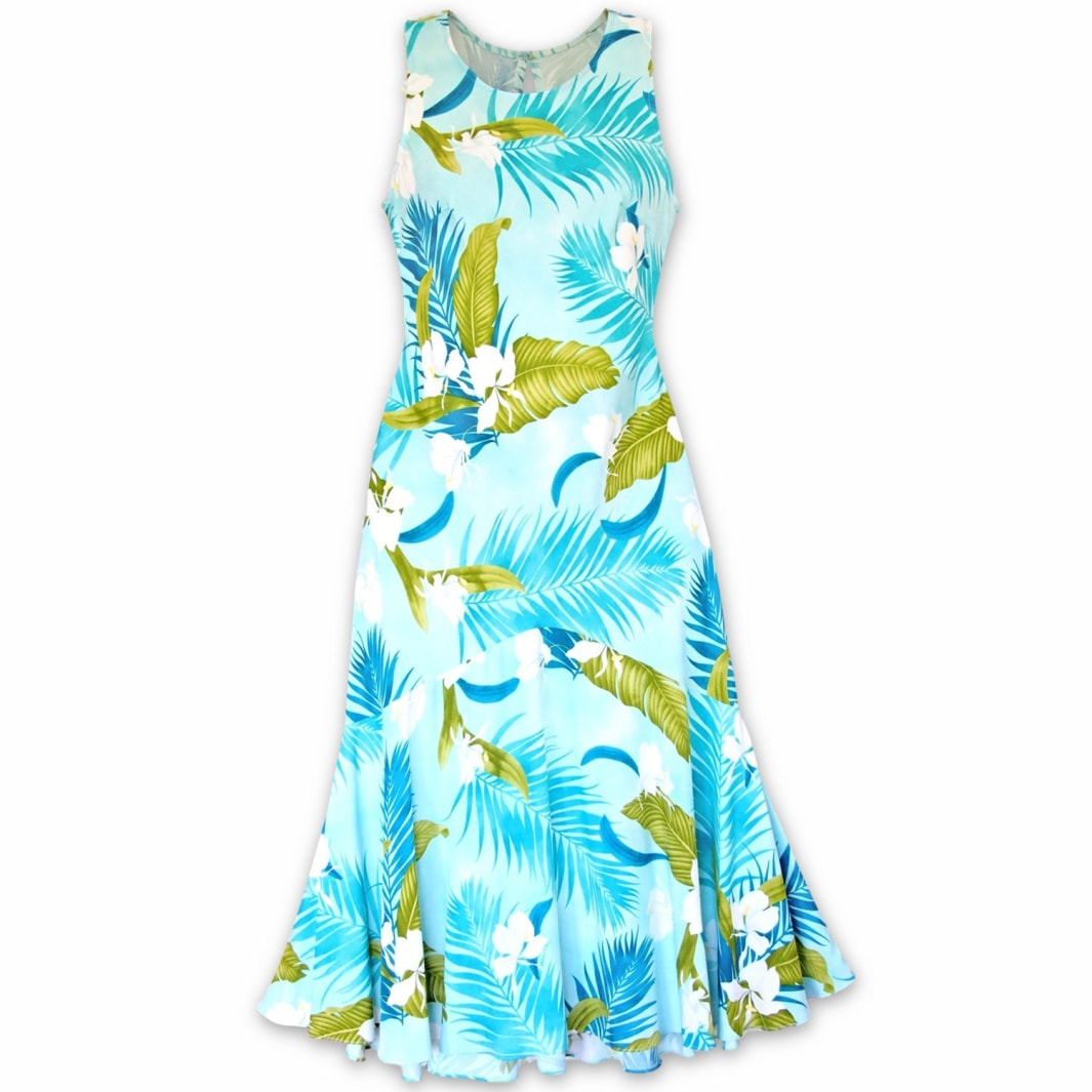 ginger breeze aqua hawaiian lehua dress | long dress hawaiian