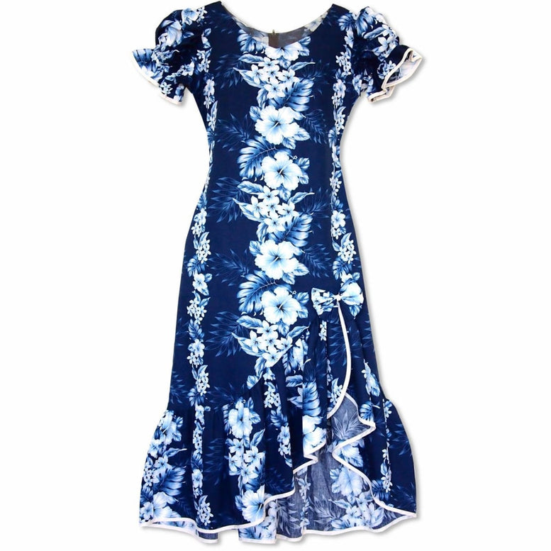 hanalei blue hawaiian makani dress | long dress hawaiian
