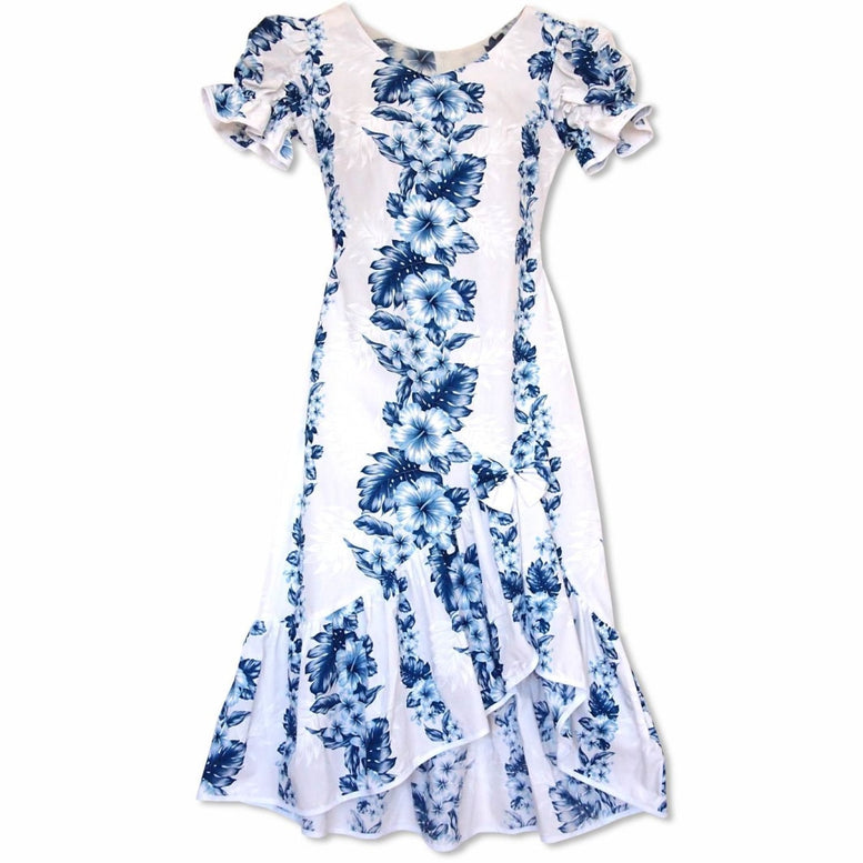 hanalei white hawaiian makani dress | long dress hawaiian