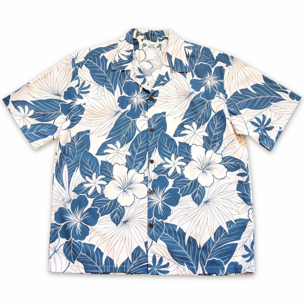haven blue hawaiian cotton shirt | hawaiian shirt men