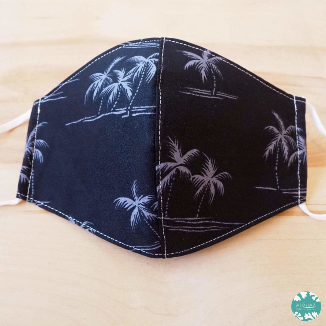 Hawaiian Face Mask + Adjustable Loops ~ Black Breeze Palms | face mask