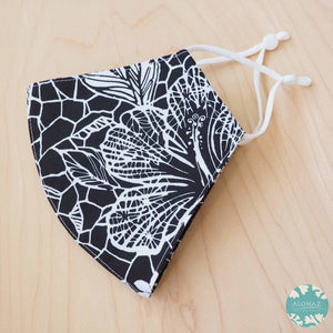 Hawaiian Face Mask + Adjustable Loops ~ Black Waialua | face mask