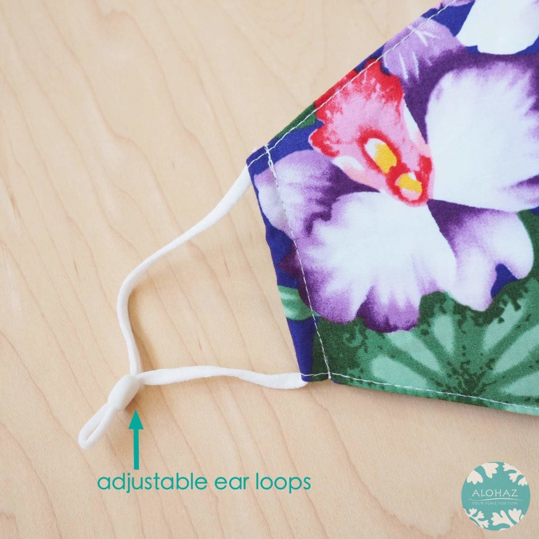Hawaiian Face Mask + Adjustable Loops ~ Blue Flower Kisses | face mask