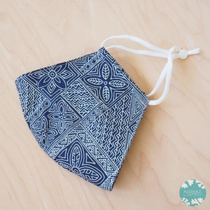 Hawaiian Face Mask + Adjustable Loops ~ Blue Kapa Blocks | face mask
