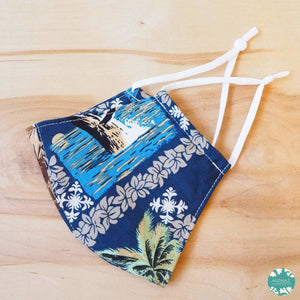 Hawaiian Face Mask + Adjustable Loops ~ Blue Moana | face mask