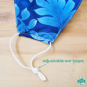 Hawaiian Face Mask + Adjustable Loops ~ Blue Waiea | face mask