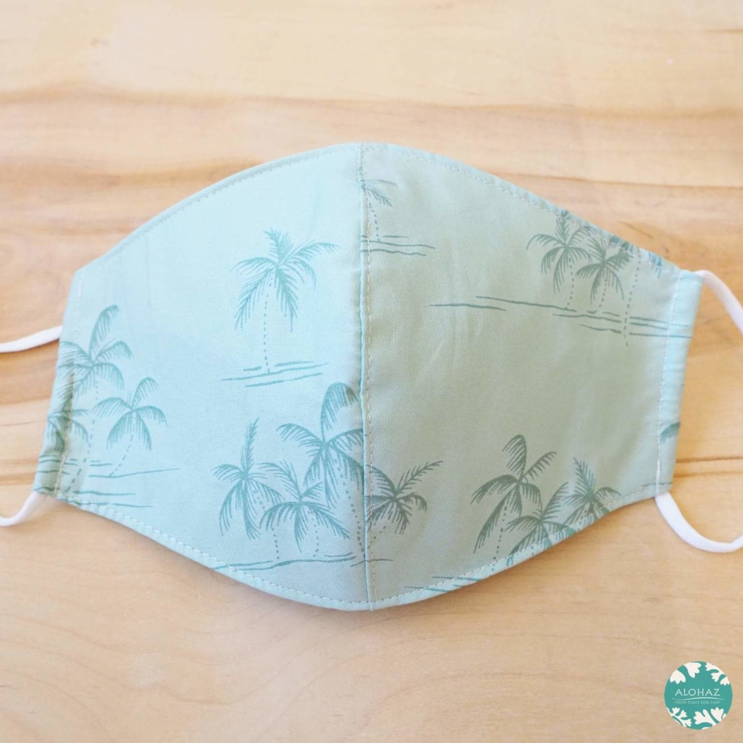 Hawaiian Face Mask + Adjustable Loops ~ Green Breezy Palms | face mask