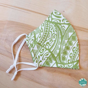 Hawaiian Face Mask + Adjustable Loops ~ Green Tribal | face mask